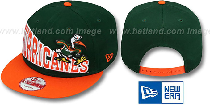 Miami 'STOKED SNAPBACK' Green-Orange Hat by New Era : pictured without stickers that these products are shipped with