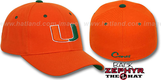 Miami 'U DH' Fitted Hat by Zephyr - orange : pictured without stickers that these products are shipped with
