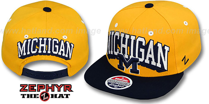 Michigan '2T BLOCKBUSTER SNAPBACK' Gold-Navy Hat by Zephyr : pictured without stickers that these products are shipped with