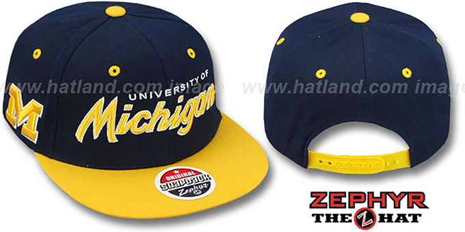 Michigan '2T HEADLINER SNAPBACK' Navy-Gold Hat by Zephyr : pictured without stickers that these products are shipped with