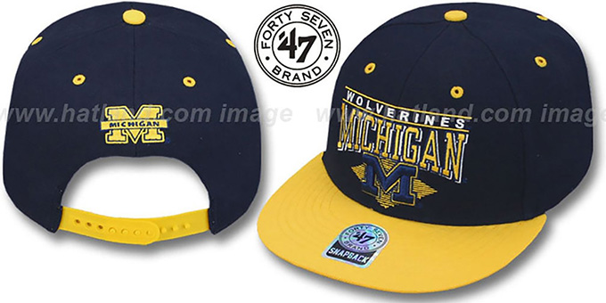 Michigan '2T HOLDEN SNAPBACK' Adjustable Hat by Twins 47 Brand : pictured without stickers that these products are shipped with