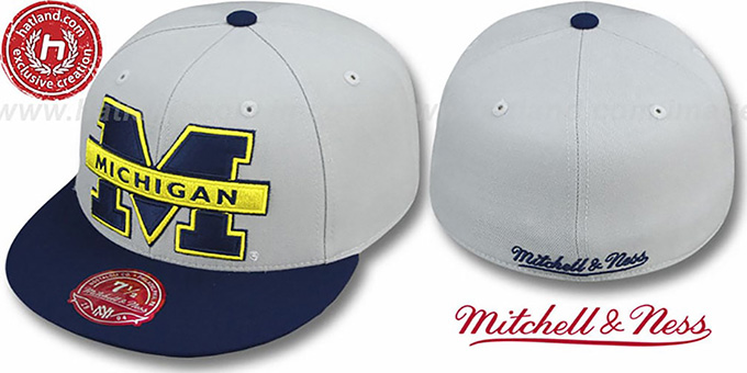 Michigan '2T XL-LOGO' Grey-Navy Fitted Hat by Mitchell & Ness : pictured without stickers that these products are shipped with