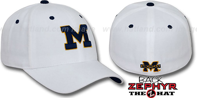 Michigan 'DH' Fitted Hat by Zephyr - white : pictured without stickers that these products are shipped with
