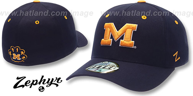 Michigan 'DH' Navy Fitted Hat by Zephyr : pictured without stickers that these products are shipped with