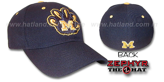 Michigan 'DHS X-LINE' Fitted Hat by Zephyr - navy : pictured without stickers that these products are shipped with