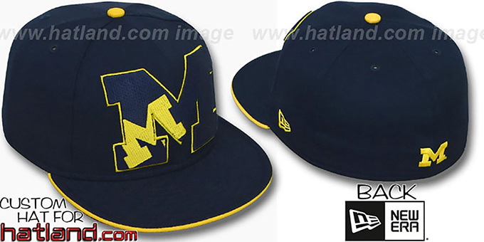 Michigan 'INSIDER BIG-ONE' Navy Fitted Hat by New Era : pictured without stickers that these products are shipped with