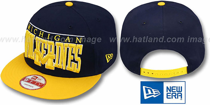 Michigan 'LE-ARCH SNAPBACK' Navy-Gold Hat by New Era : pictured without stickers that these products are shipped with