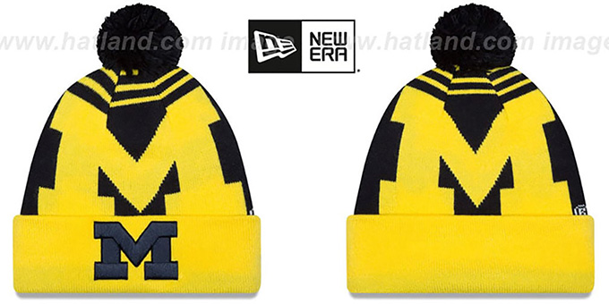 Michigan 'LOGO WHIZ' Navy-Gold Knit Beanie Hat by New Era : pictured without stickers that these products are shipped with