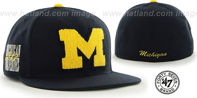 Michigan 'NCAA CATERPILLAR' Navy Fitted Hat by 47 Brand : pictured without stickers that these products are shipped with