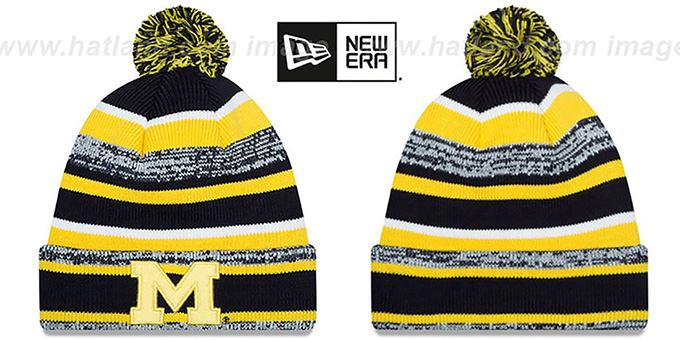 Michigan 'NCAA-STADIUM' Knit Beanie Hat by New Era : pictured without stickers that these products are shipped with