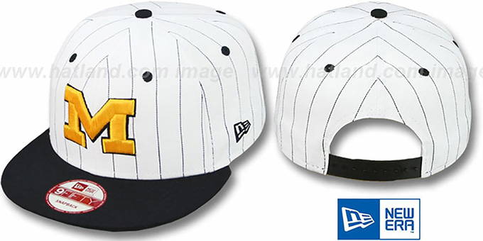 Michigan 'PINSTRIPE BITD SNAPBACK' White-Navy Hat by New Era : pictured without stickers that these products are shipped with