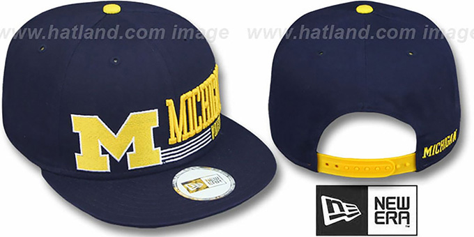 Michigan 'RETRO-SNAPBACK' Navy Hat by New Era : pictured without stickers that these products are shipped with