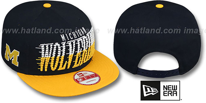 Michigan 'SAILTIP SNAPBACK' Navy-Gold Hat by New Era : pictured without stickers that these products are shipped with