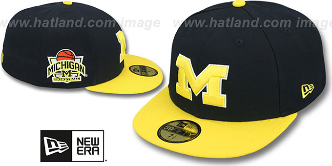 Michigan  SIDE BASKETBALL-PATCH  Navy-Gold Fitted Hat by ... dcf5fbfc6a2