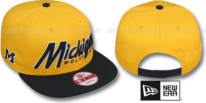 Michigan 'SNAP-IT-BACK SNAPBACK' Gold-Navy Hat by New Era : pictured without stickers that these products are shipped with