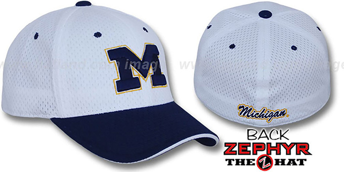 Michigan 'SPLIT BP-MESH' White-Navy Fitted Hat by Zephyr : pictured without stickers that these products are shipped with