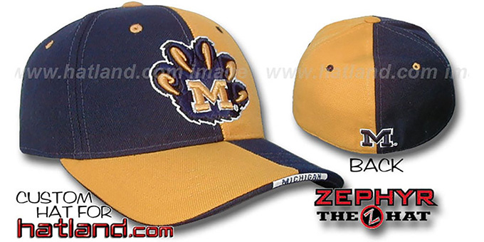 Michigan 'SPLITTER' Navy-Gold Fitted Hat by Zephyr : pictured without stickers that these products are shipped with