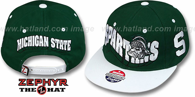 Michigan State '2T FLASHBACK SNAPBACK' Green-White Hat by Zephyr : pictured without stickers that these products are shipped with