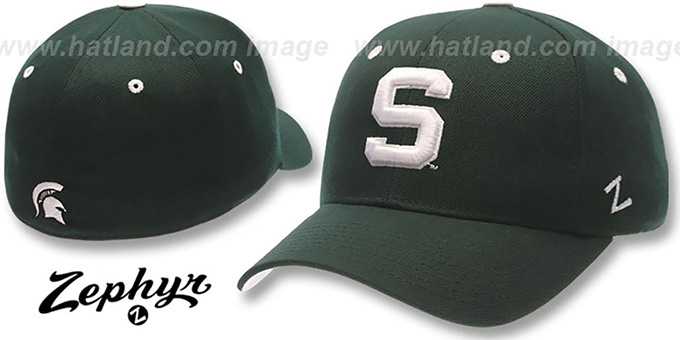 Michigan State 'DH' Fitted Hat by ZEPHYR - green : pictured without stickers that these products are shipped with