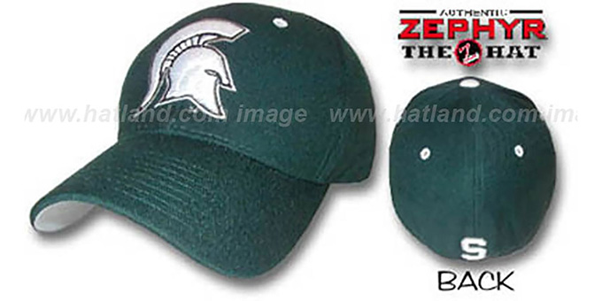 Michigan State 'DHS' Fitted Hat by ZEPHYR - green : pictured without stickers that these products are shipped with
