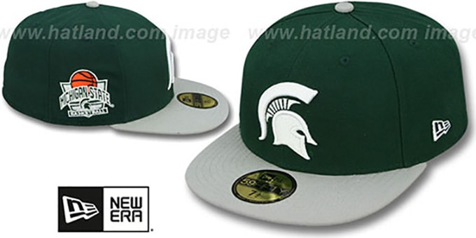 Michigan State 'SIDE BASKETBALL-PATCH' Green-Grey Fitted Hat by New Era : pictured without stickers that these products are shipped with