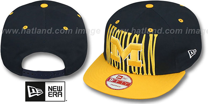Michigan 'STEP-ABOVE SNAPBACK' Navy-Gold Hat by New Era : pictured without stickers that these products are shipped with