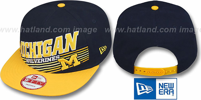 Michigan 'STILL ANGLIN SNAPBACK' Navy-Gold Hat by New Era : pictured without stickers that these products are shipped with