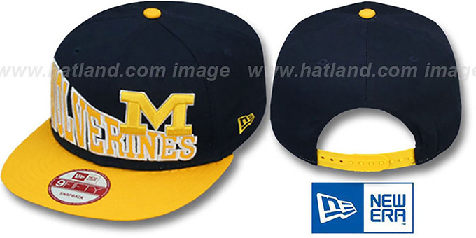 Michigan 'STOKED SNAPBACK' Navy-Gold Hat by New Era : pictured without stickers that these products are shipped with