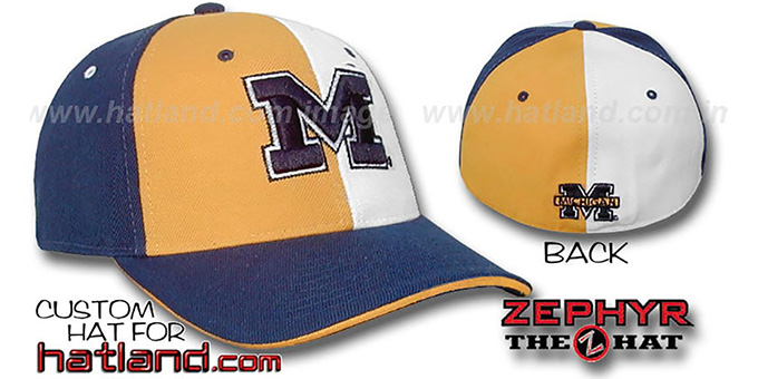 Michigan 'TWIST' Gold-White-Navy Fitted Hat by Zephyr : pictured without stickers that these products are shipped with