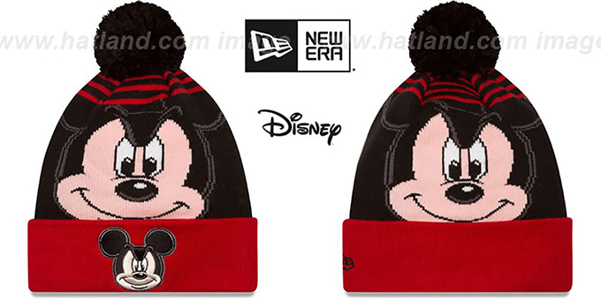 Mickey Mouse 'LOGO WHIZ' Black-Red Knit Beanie Hat by New Era : pictured without stickers that these products are shipped with