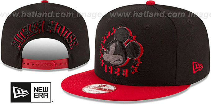 Mickey Mouse 'SHADOW SLICE SNAPBACK' Black-Red Hat by New Era : pictured without stickers that these products are shipped with