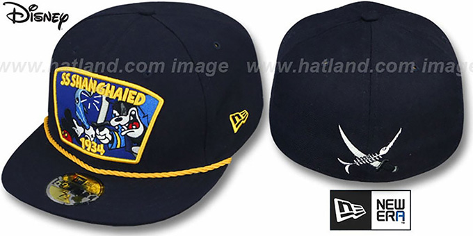 Mickey 'SHANGHAIED' Navy Fitted Hat by New Era : pictured without stickers that these products are shipped with