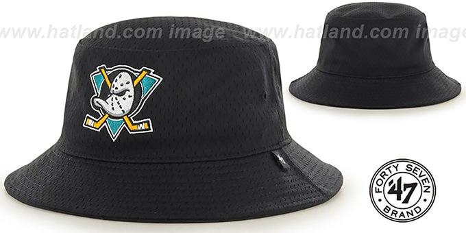 Mighty Ducks 'BACKBOARD JERSEY BUCKET' Black Hat by Twins 47 Brand : pictured without stickers that these products are shipped with