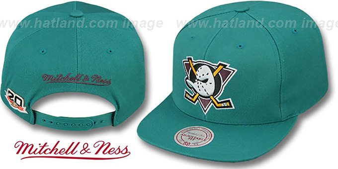 Mighty Ducks 'BASIC VINTAGE SNAPBACK' Teal Hat by Mitchell and Ness : pictured without stickers that these products are shipped with