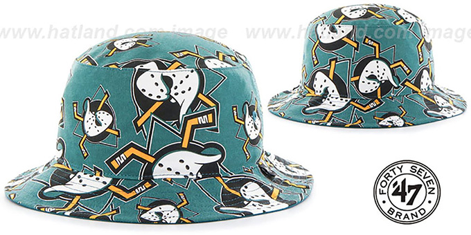 Mighty Ducks 'BRAVADO BUCKET' Hat by Twins 47 Brand : pictured without stickers that these products are shipped with