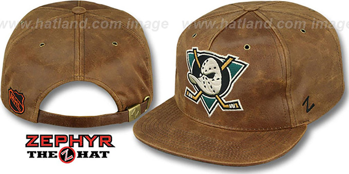 Mighty Ducks 'DYNASTY LEATHER STRAPBACK' Brown Hat Zephyr : pictured without stickers that these products are shipped with