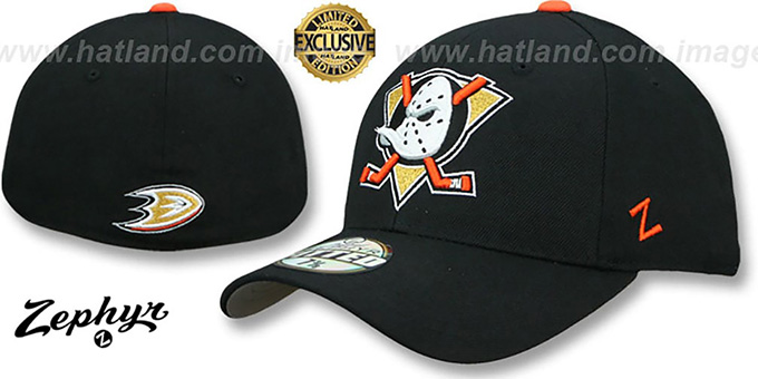 025a1841fe7 Mighty Ducks SHOOTOUT Black Fitted Hat by Zephyr