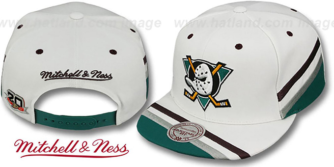 Mighty Ducks Team Jersey Snapback White Hat By Mitchell