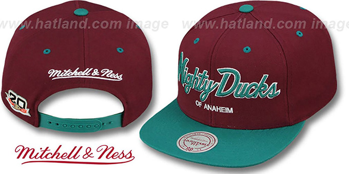 Mighty Ducks 'TEAM-SCRIPT SNAPBACK' Plum-Teal Hat by Mitchell & Ness : pictured without stickers that these products are shipped with