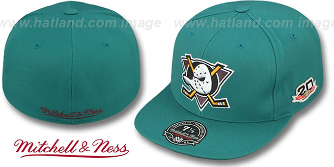 Mighty Ducks Vintage Classic Teal Fitted Hat By Mitchell