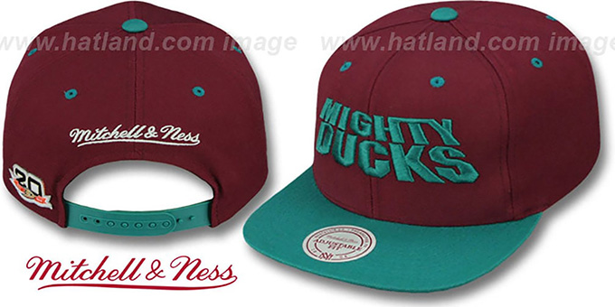Mighty Ducks 'WORDMARK SNAPBACK' Plum-Teal Hat by Mitchell & Ness : pictured without stickers that these products are shipped with