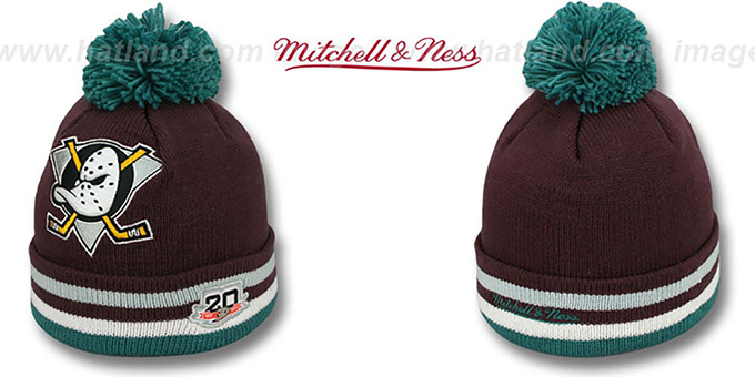 Mighty Ducks 'XL-LOGO BEANIE ROAD' Plum by Mitchell and Ness : pictured without stickers that these products are shipped with