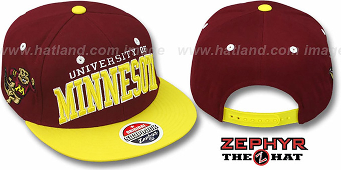 Minnesota '2T SUPER-ARCH SNAPBACK' Burgundy-Gold Hat by Zephyr : pictured without stickers that these products are shipped with
