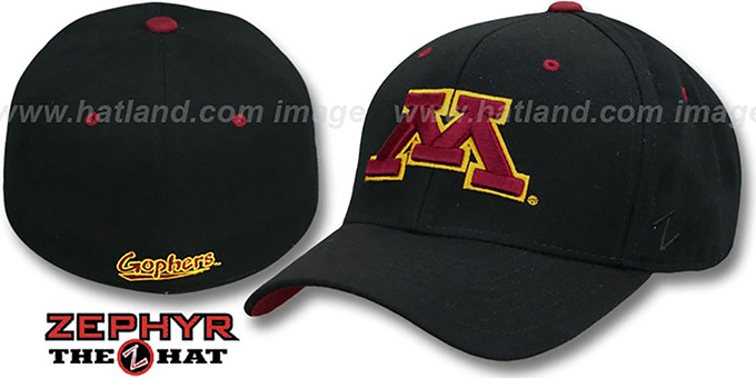 Minnesota 'DH' Fitted Black Hat by ZEPHYR