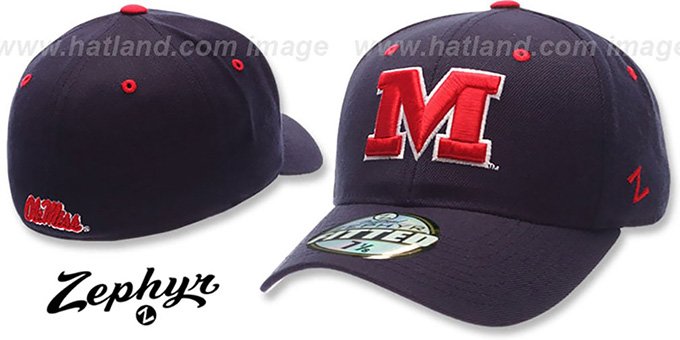 Mississippi 'DH' Fitted Hat by Zephyr - navy : pictured without stickers that these products are shipped with
