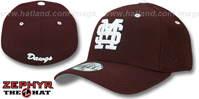Mississippi State 'DH' Maroon Fitted Hat by Zephyr : pictured without stickers that these products are shipped with