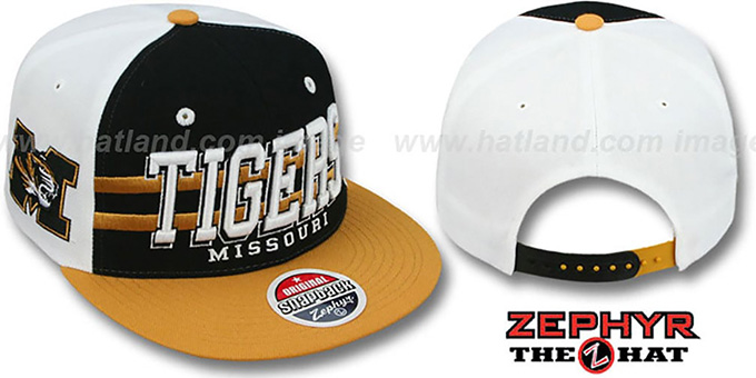 Missouri '2T SUPERSONIC SNAPBACK' Black-Gold Hat by Zephyr : pictured without stickers that these products are shipped with