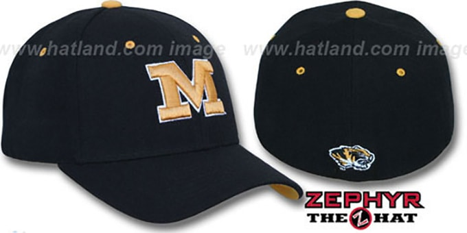 Missouri 'DH' Fitted Hat by Zephyr - black : pictured without stickers that these products are shipped with