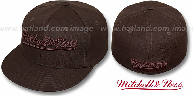 Mitchell & Ness 'BROWNOUT' Fitted Hat : pictured without stickers that these products are shipped with