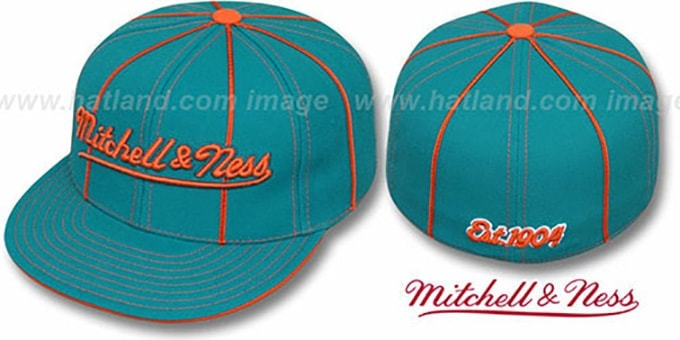 Mitchell & Ness 'CONTRAST PIPING' Aqua Fitted Hat : pictured without stickers that these products are shipped with